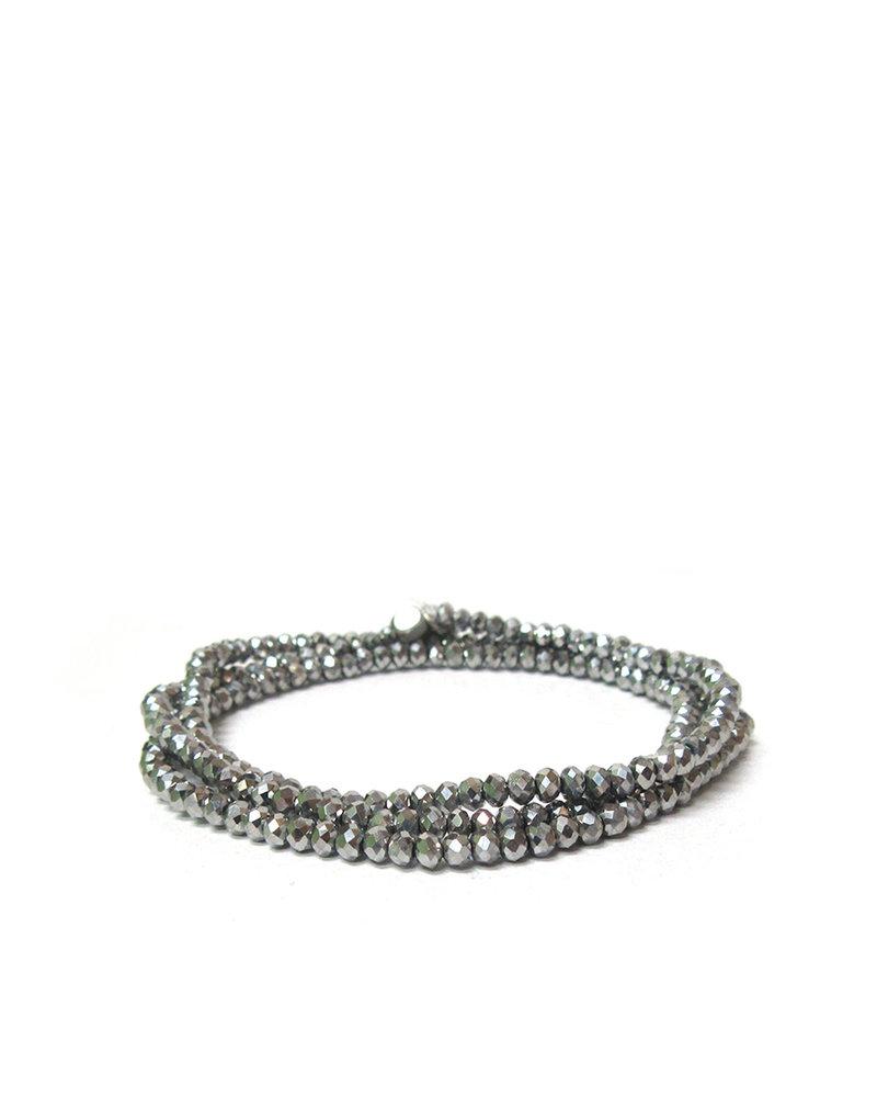 Marlyn Schiff Mini Beaded Stretch Bracelet Silver
