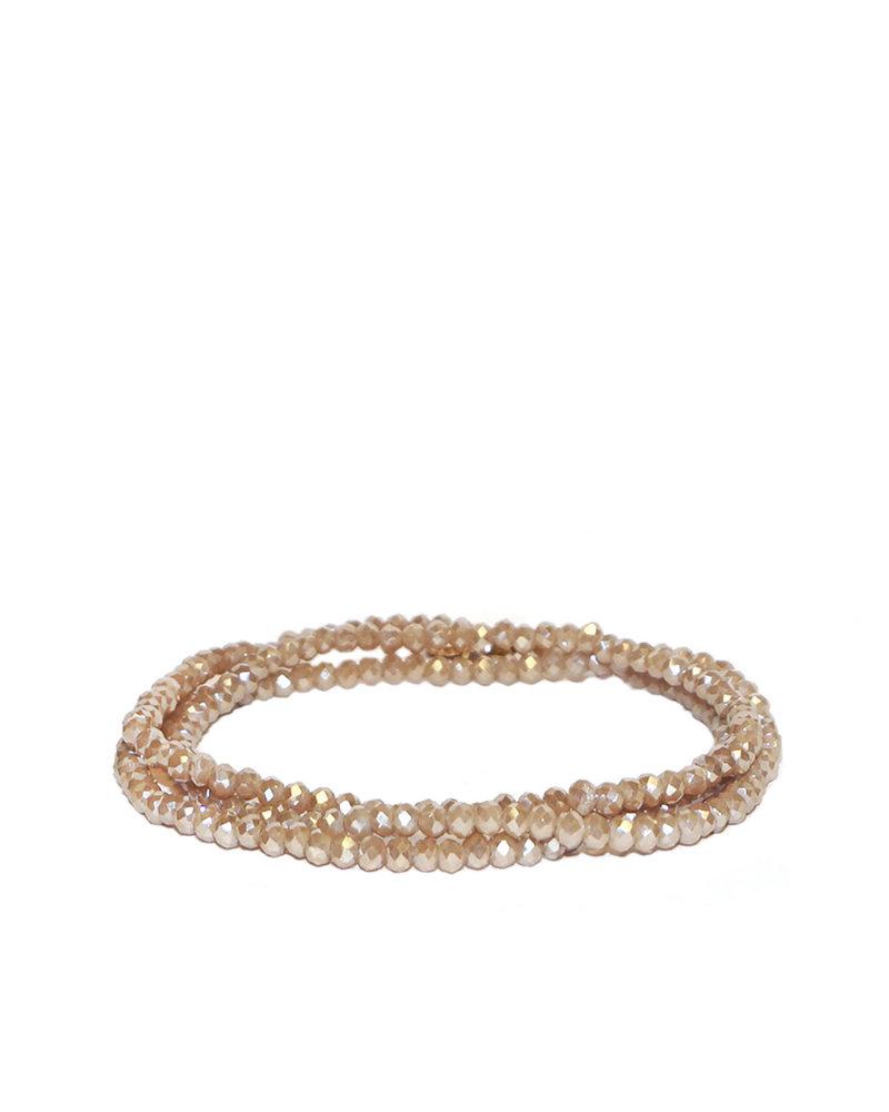 Marlyn Schiff Mini Beaded Stretch Bracelet Taupe