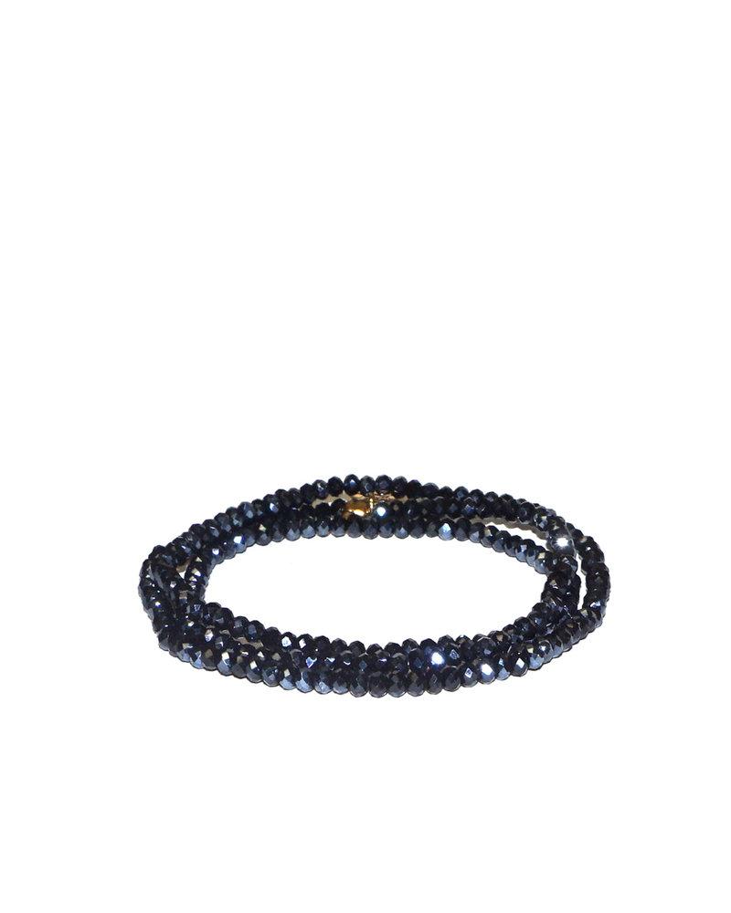 Marlyn Schiff Mini Beaded Stretch Bracelet Hematite