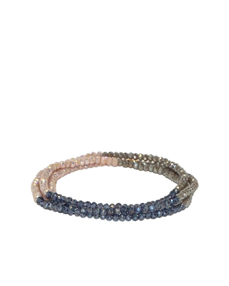 Marlyn Schiff Mini Beaded Stretch Bracelet Montana Taupe