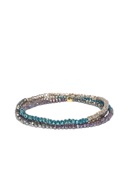 Marlyn Schiff Mini Beaded Stretch Bracelet Teal Multi