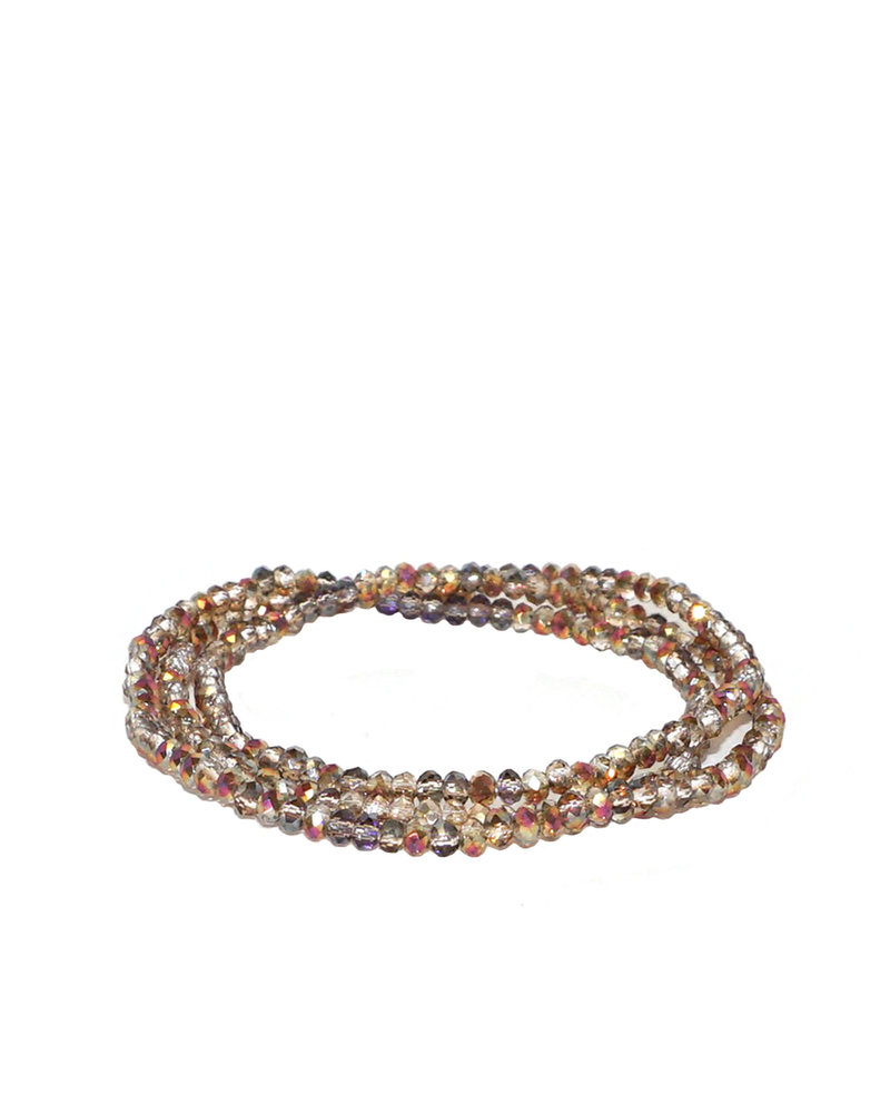 Marlyn Schiff Mini Beaded Stretch Bracelet Rose Ab