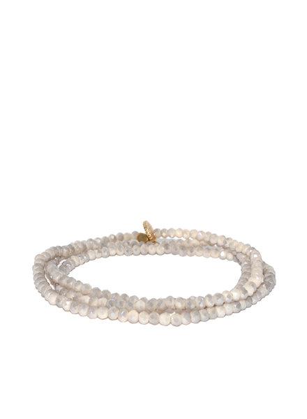 Marlyn Schiff Mini Beaded Stretch Bracelet Light Grey