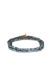 Marlyn Schiff Mini Beaded Stretch Bracelet Green Grey AB