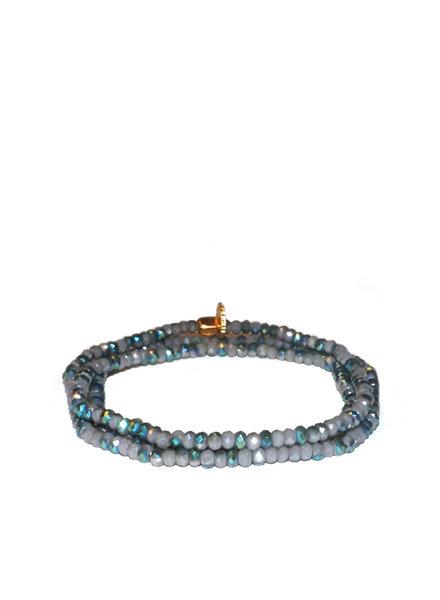 Marlyn Schiff Mini Beaded Stretch Bracelet Green Grey AB