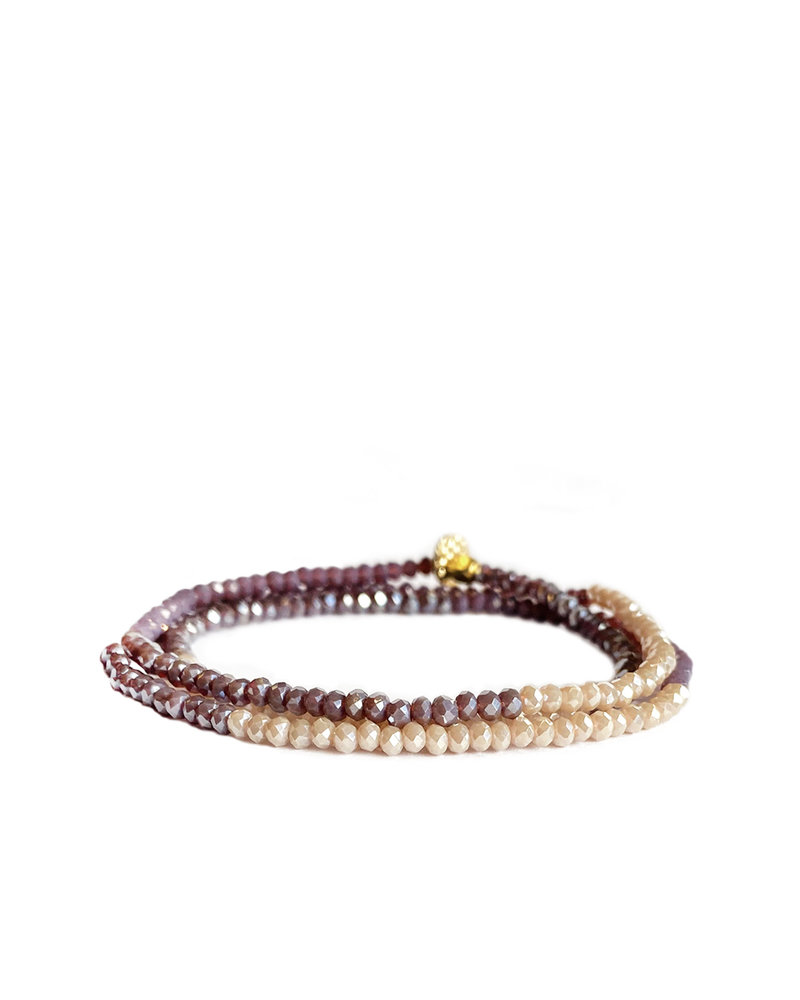 Marlyn Schiff Mini Beaded Stretch Bracelet Lavendar Multi