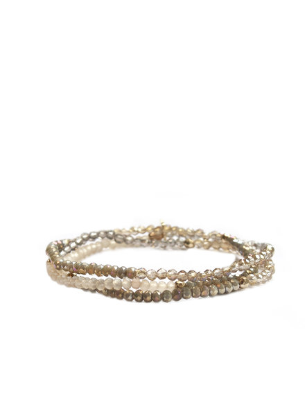 Marlyn Schiff Mini Beaded Stretch Bracelet Gold Neutral Multi