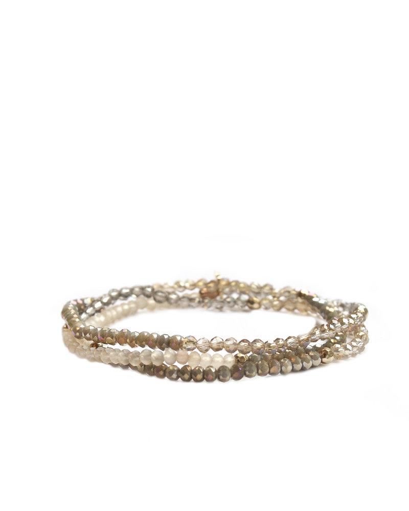 Marlyn Schiff Mini Beaded Stretch Bracelet Gold Neutral Multi