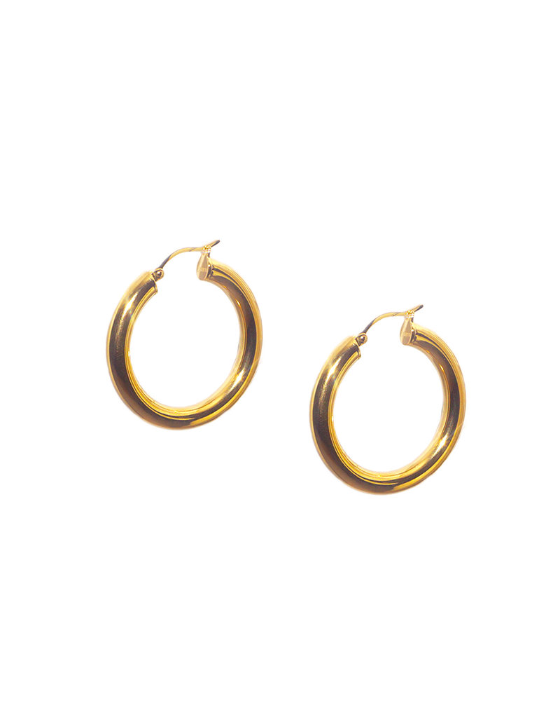 """Marlyn Schiff 0846E Gold 1 1/4""""  Hollow Clasp Hoop"""