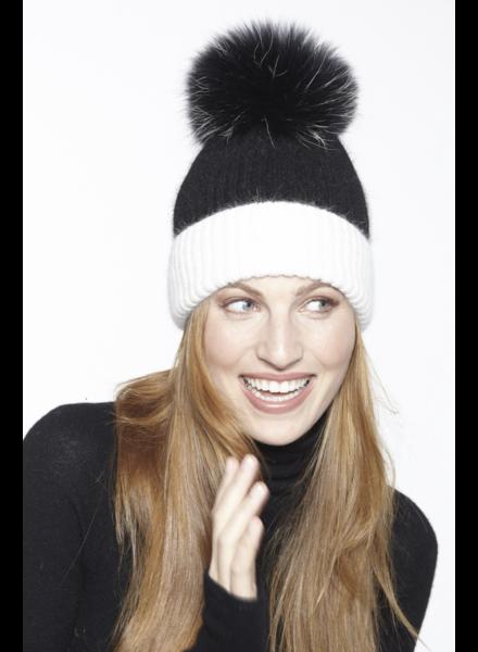 Linda Richards HA-68 Two-Tone Knit Hat Black/White