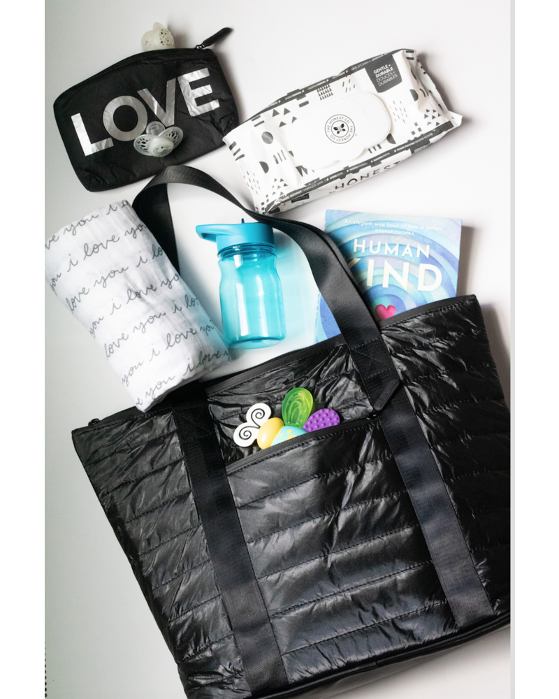 Hi Love Travel Puffer Tote - Shimmer Black