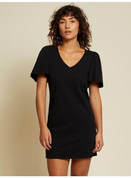 Nation Mallory Flutter Sleeve Dress Black S21