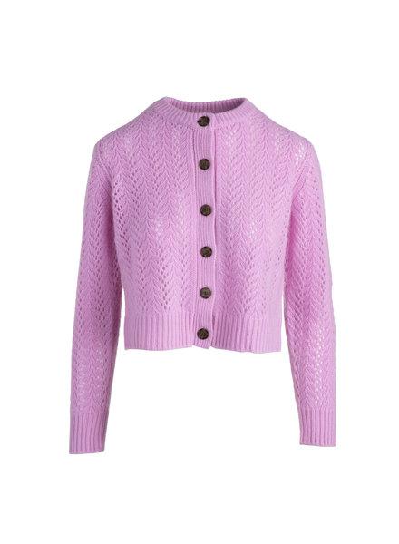 Naadam Lace Pointelle Cardigan Violet S21