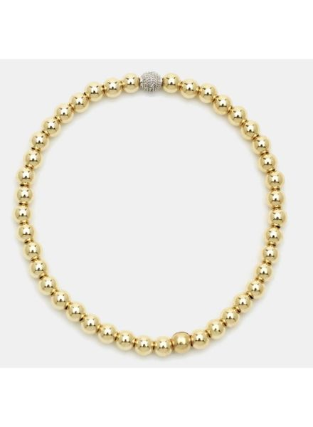 Karen Lazar 4mm Beaded Bracelet with 14K Gold Diamond Bead