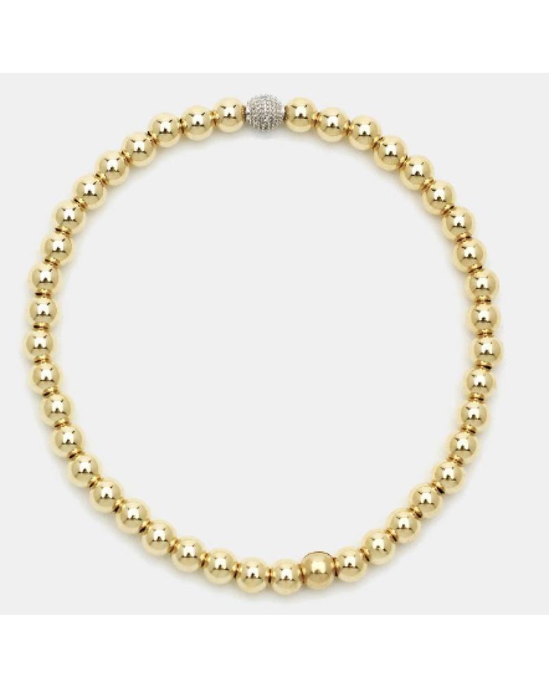 Karen Lazar 4mm Beaded Bracelet with 14K Gold Diamond Bead