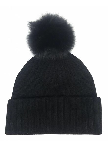 Hat Attack Cashmere Slouchy/Cuff hat with Luxe Pom F18