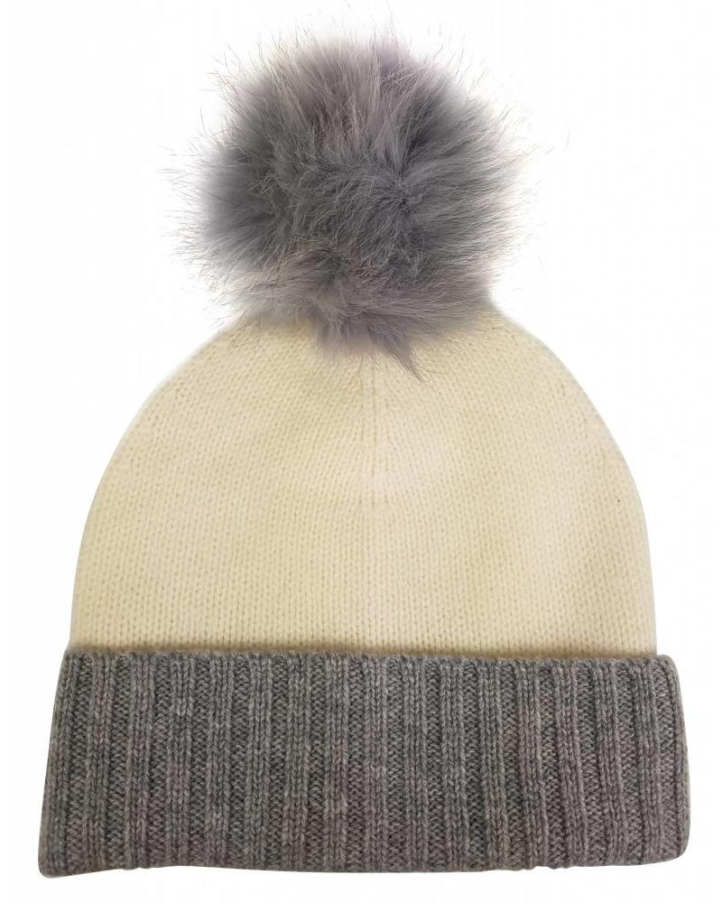 Hat Attack Cashmere Slouchy/Cuff hat with Luxe Pom Colorblock F18