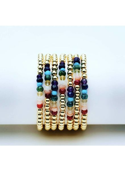 Karen Lazar 3mm KIDS Yellow Gold Beaded Gemstone bracelet