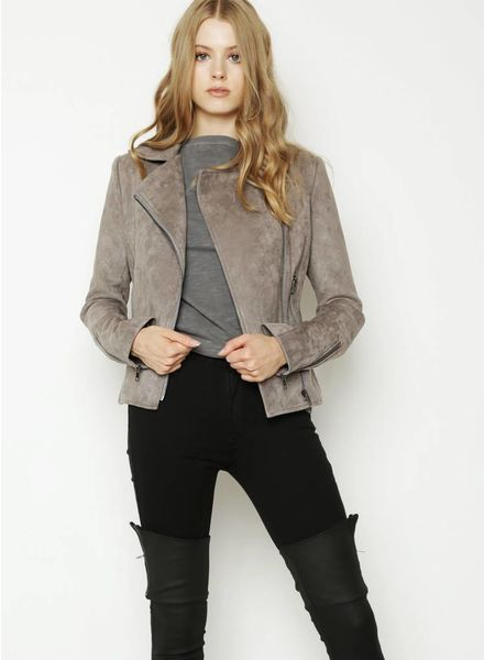James Jeans Moto Jacket Sueded Taupe F18