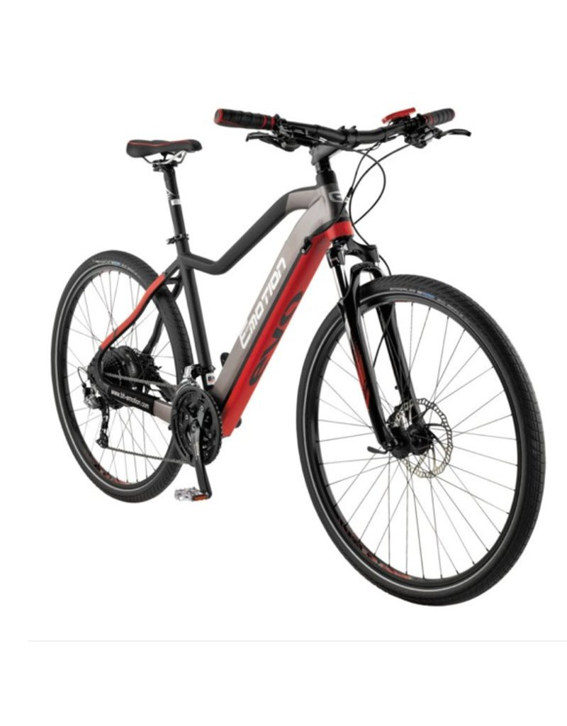 "Easy Motion Easy Motion EVO Cross + 28""/700c Electric MTB Hybrid Bike Matte GREY/Red SML *ON SALE*"