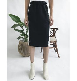 Mid-Length Skirt with Contrast Side Bande & Buttons
