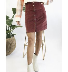 Jupe courte taille haute en velours côtelé avec boutons