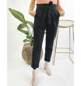 High Waisted Paper Bag Denim Pants