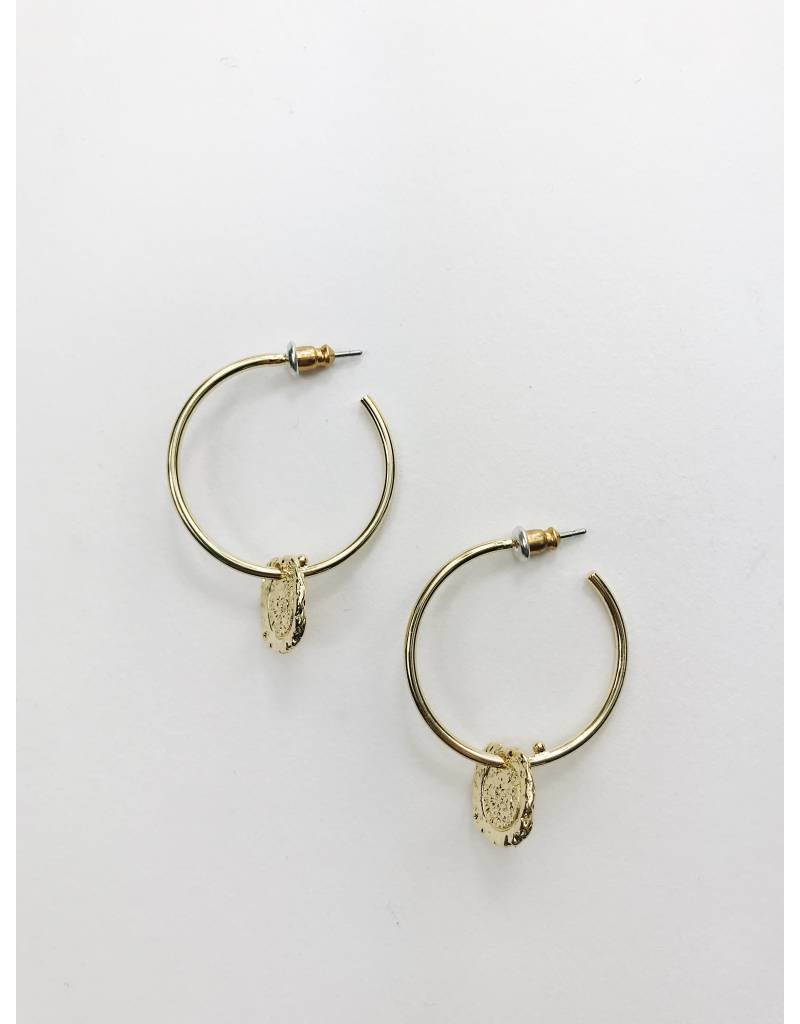 Marley - Gold Plated Medallion Earrings
