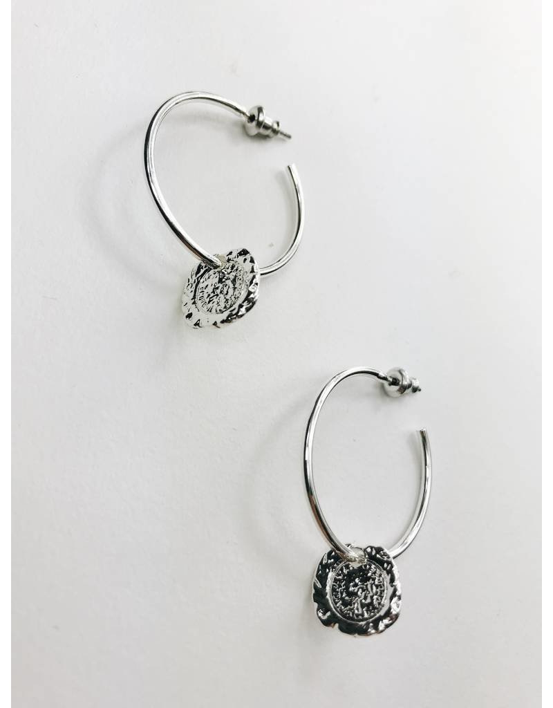 Marley - Silver Plated Medallion Earrings