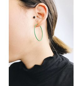 Misty - Silver Plated Earrings with Green Enamel