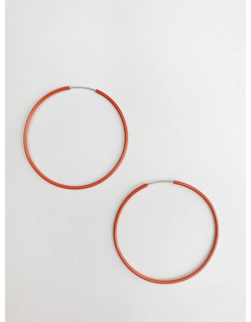 Misty - Silver Plated Earrings with Red Enamel