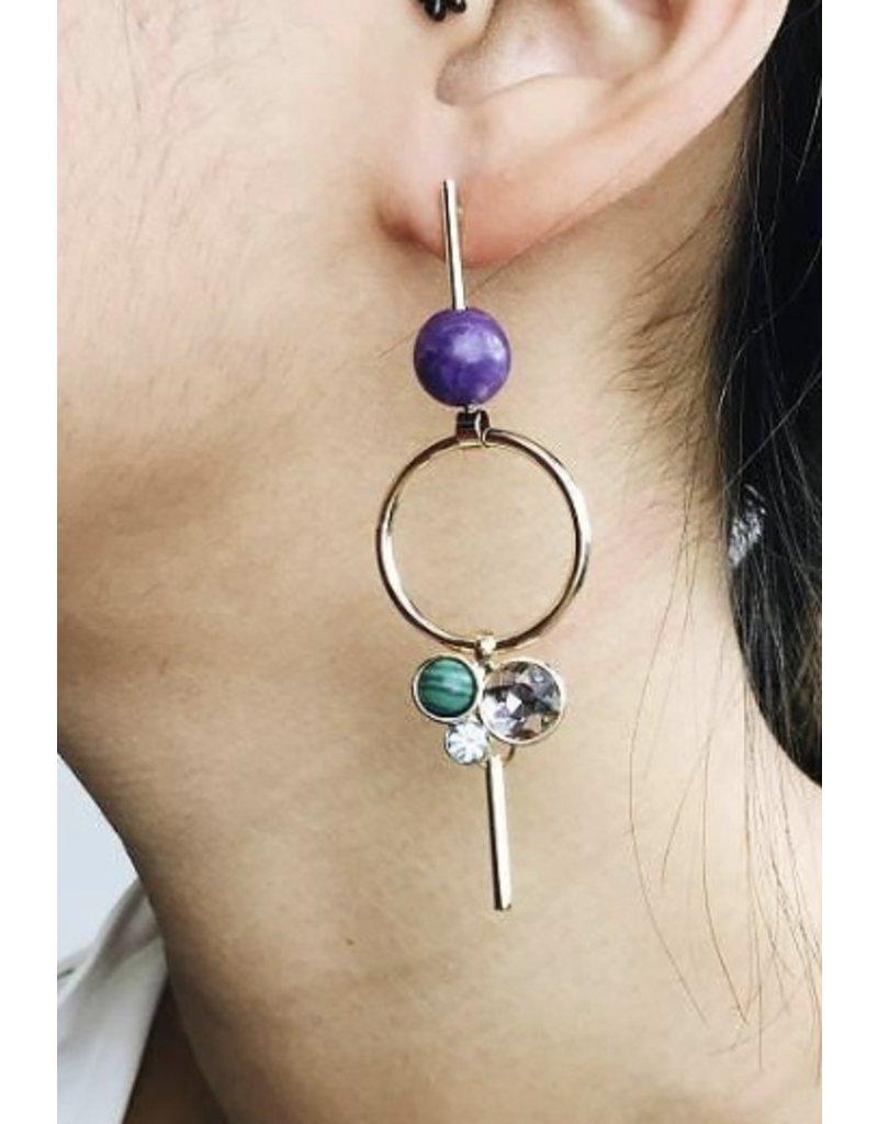 Sunny - Boucles d'oreilles plaqué or avec cristal