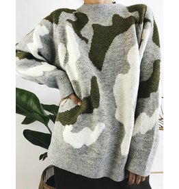 Oversized Camo Knit Sweater