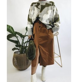 Mid-Length Skirt with Buttons & Belt - Camel