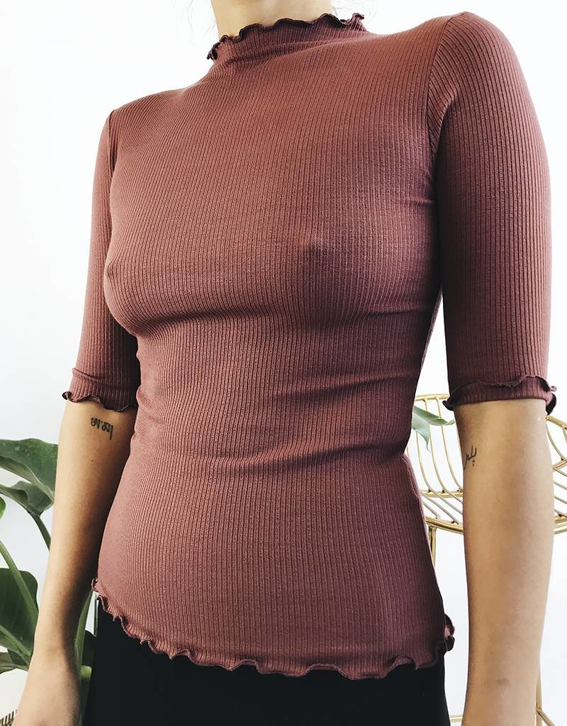 3/4 Sleeve Ribbed Top with Lettuce Edge