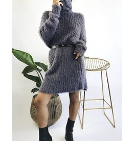 Mid-Length Turtleneck Dress Super Soft & Fuzzy