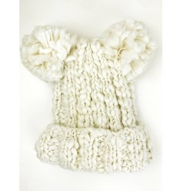 Double Pom Beanie Hat - White