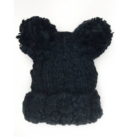 Double Pom Beanie Hat - Black