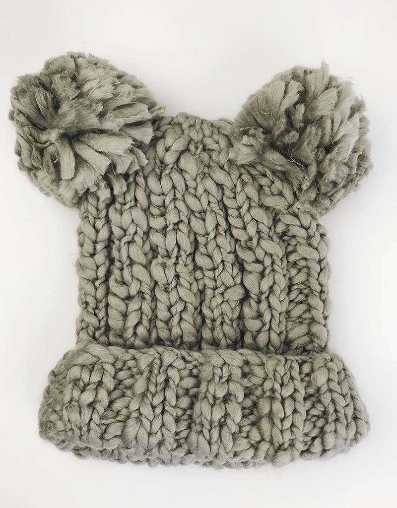 Double Pom Beanie Hat - Grey