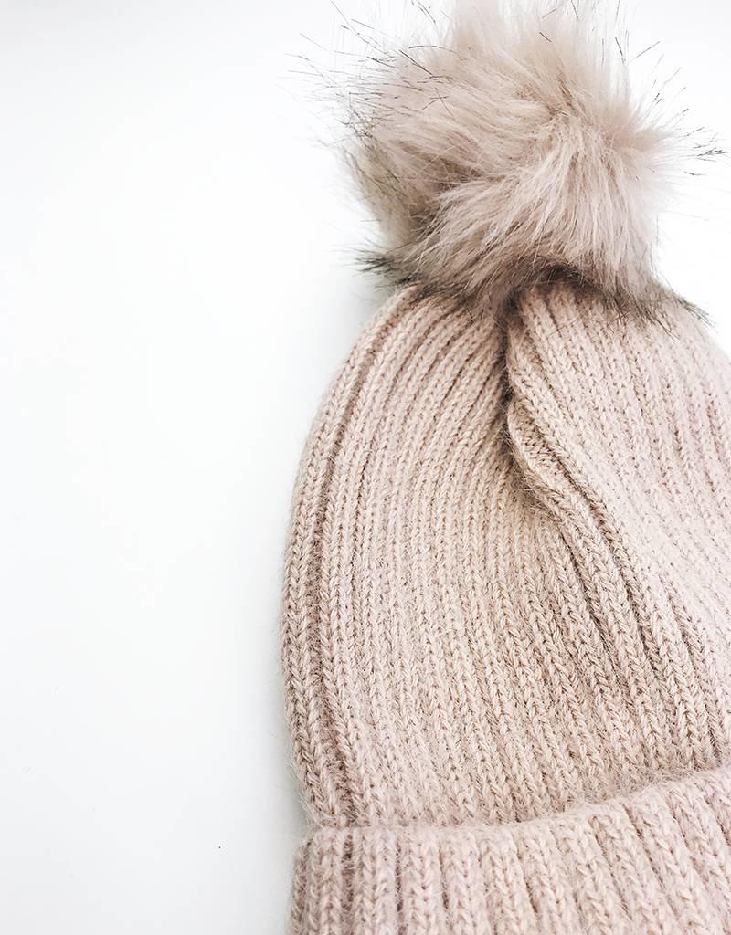 Faux Fur Pom Beanie - Pink