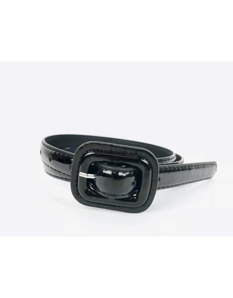 Slim Patent Finish Belt - Beige