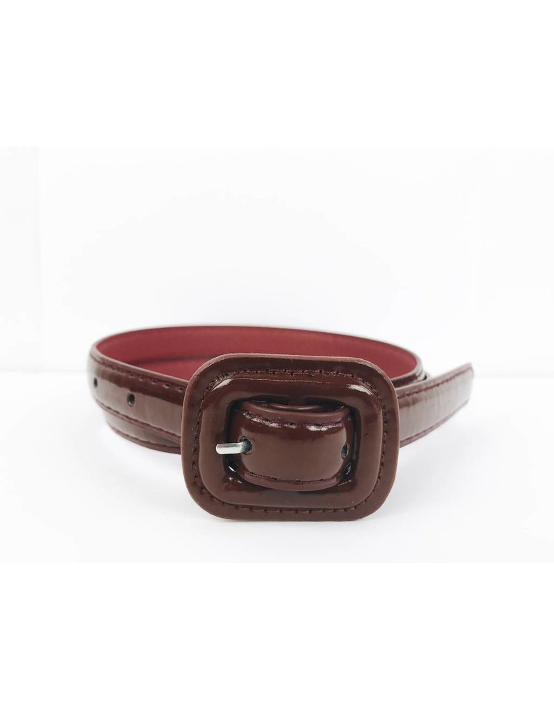 Slim Patent Finish Belt - Burgundy