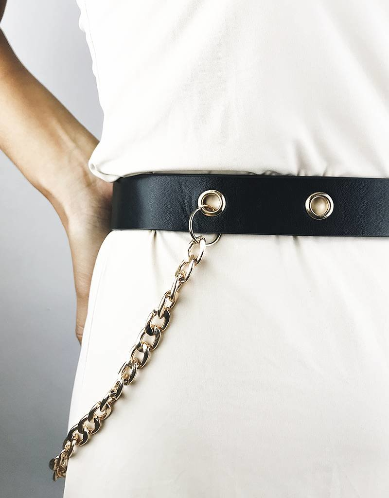 Faux Leather Belt with Chain - Black/Gold