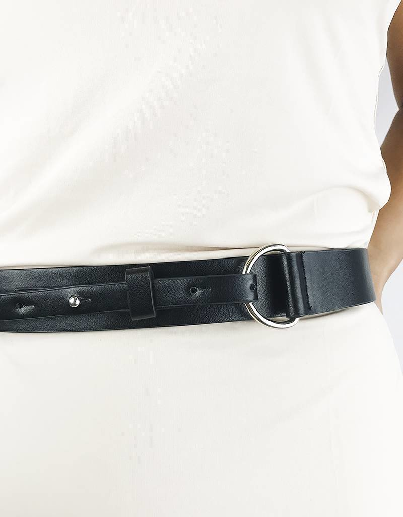 Faux Leather Belt with Chain - Black/Silver