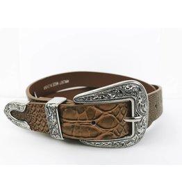 Faux Leather Western Buckle Belt - Brown / Silver