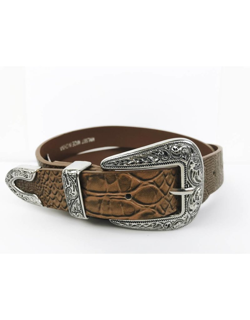 Faux Leather Western Buckle Belt - Brown / Silver
