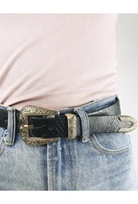Faux Leather Western Buckle Belt - Gold/Black