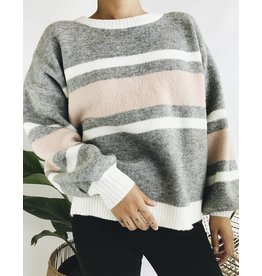 Crewneck Sweater with Striped Detail
