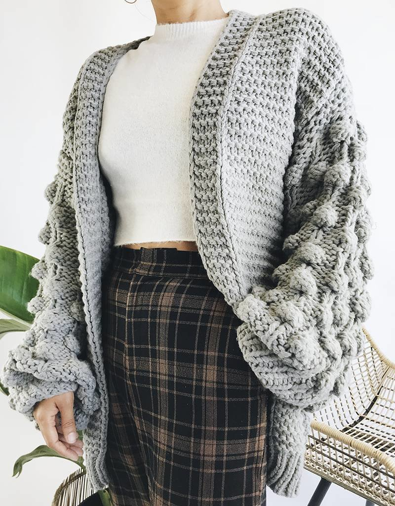 Oversized Knit Cardigan with Bobble Textured Sleeves