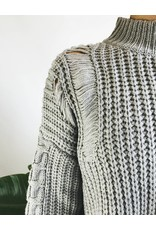 Mixed Knit Turtleneck Sweater